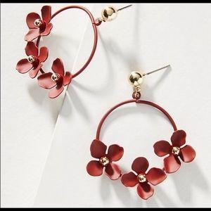 NWT Anthropologie Zenzii Burgundy Flower Earrings